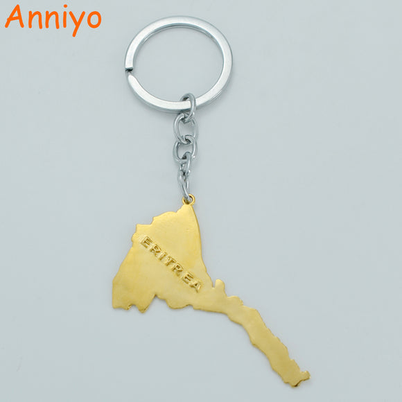 Eritrean Map Key Chains Gold Color Jewelry for Women Men