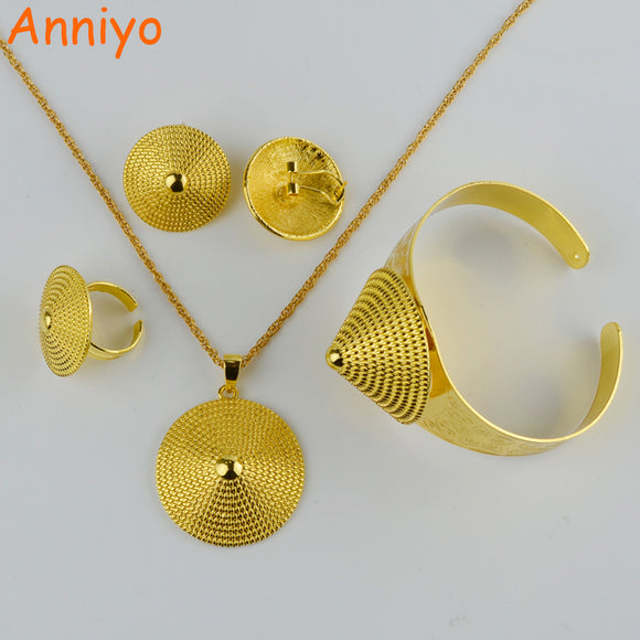 Anniyo Ethiopian Gold Jewelry set Necklace/Earring/Ring/Bangle Silver/Gold Color African Bridal Habesha Ethiopia Wedding Gift