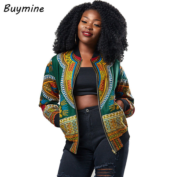 2017 Autumn Winter Jacket Women Auspicious Africa Print Coat Elastic Waist Slimming Outerwear Jacket Vintage Print Oversize Coat