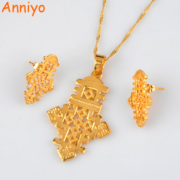 Ethiopian Cross Jewelry sets Necklace and Earrings for Women Gold Color African Eritrean Crosses sets