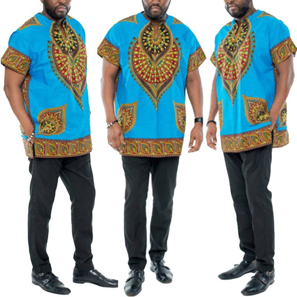 2018 Hot Sale New African Dashiki Printing Africa National Retro Costume Big Yard Dashiki Plus Size Party Holiday t shirt Men