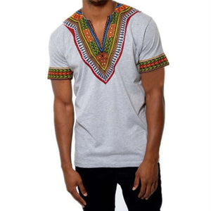 Africa Clothing Dashiki V-neck T Shirt National Traditional For Men