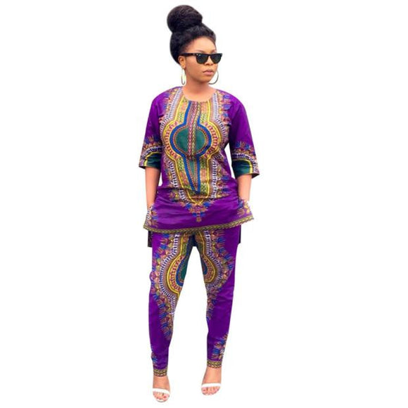 Women Fashion African Print Casual Straight Print Tops+Pants