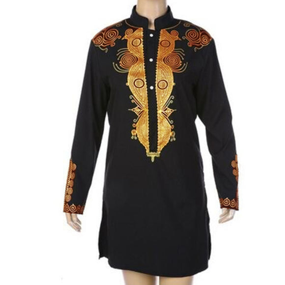 Africa Clothing African Dashiki Stand Collar Traditional Printing Long Sleeve Shirt Men Maxi Men's Dress Shirt Plus Size M-3XL