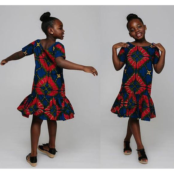 Teenager Girls African Style Floral Dress Beach Wear Knee Length Cotton Spandex Summer Princess Dresses for Kids Girls 110-140cm