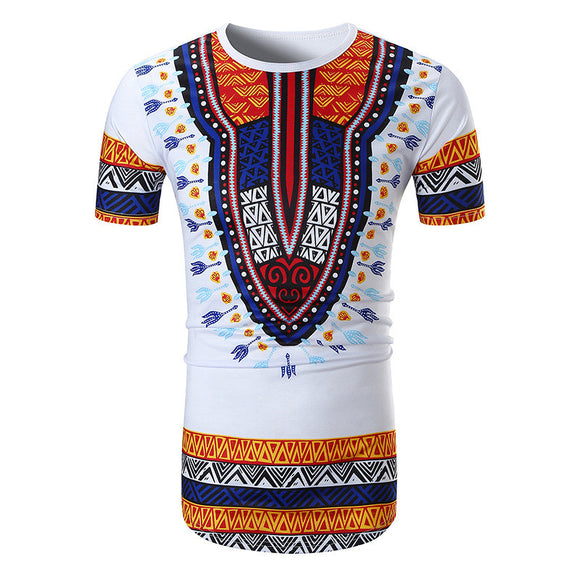 African Clothes Mens Tshirt Casual Hip Hop Style Cruve Hem T Shirt Men African Print T-shirt Ethnic Traditional Tees Plus Size