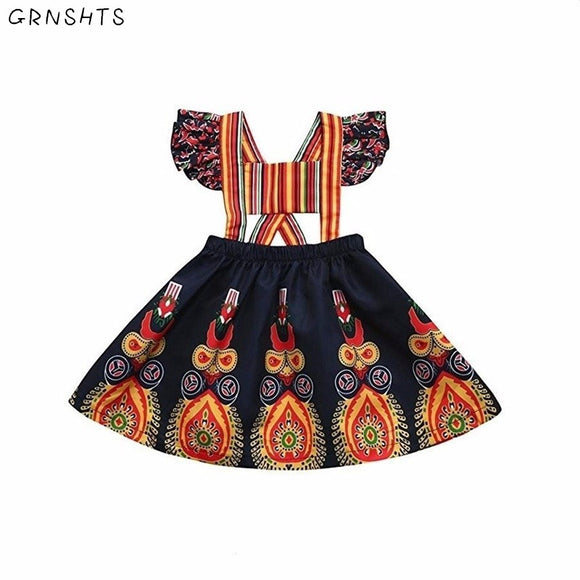 GRNSHTS Dress for Little Girl Toddler Kids Baby Summer African Beach Pageant Backless Boho Floral Dress Summer