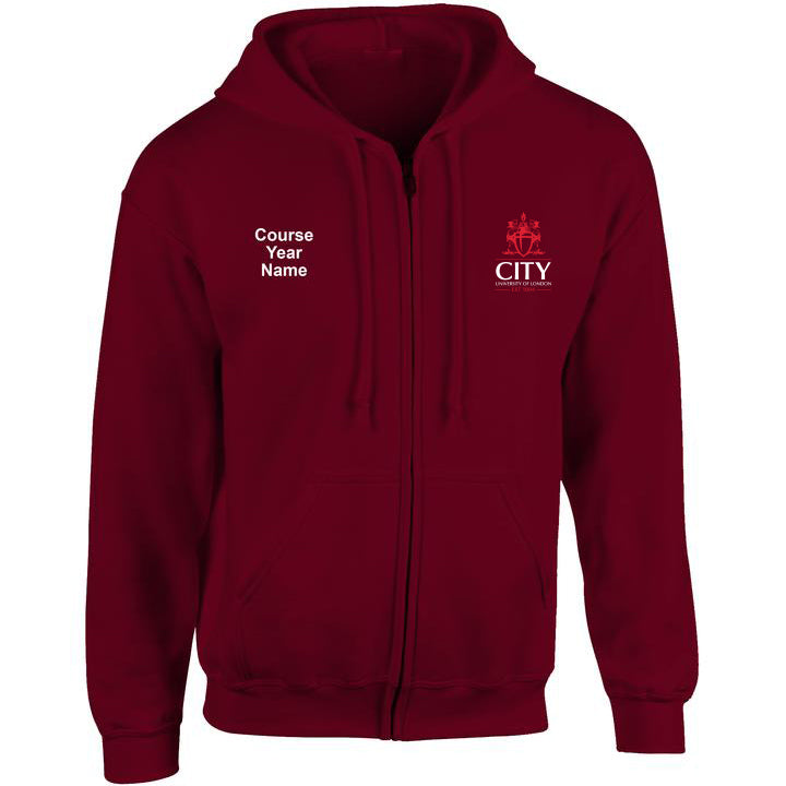City embroidered Zip Hooded top