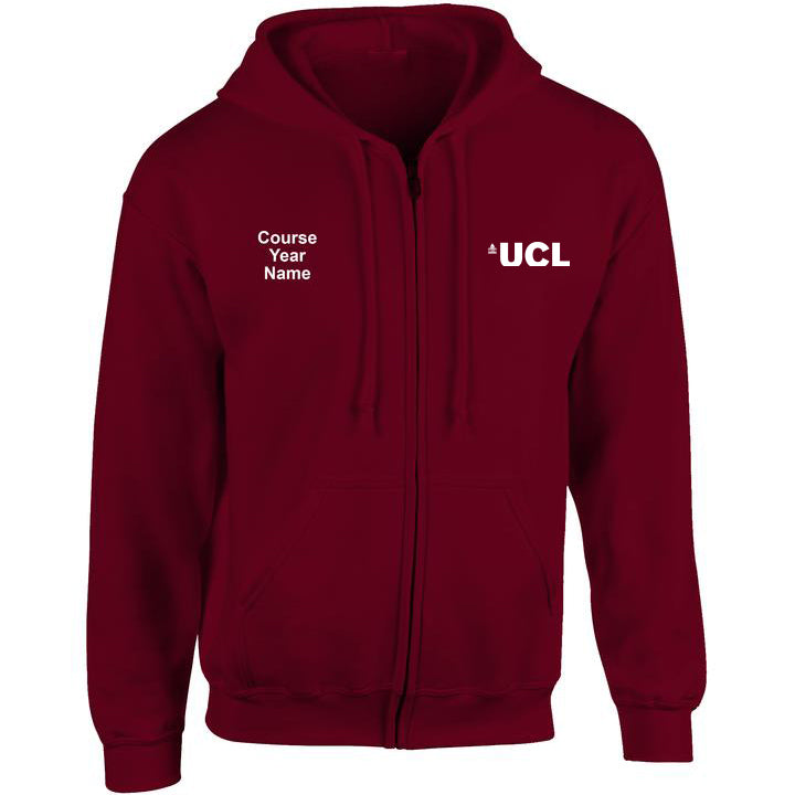 UCL embroidered Zip Hooded top