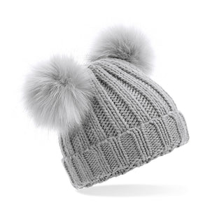 B414a Infant Faux Fur Double Pom Pom Beanie