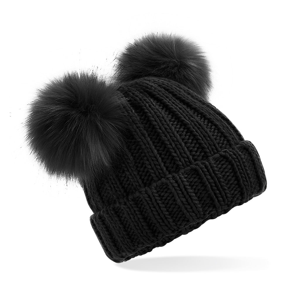 B414b Junior Faux Fur Double Pom Pom Beanie