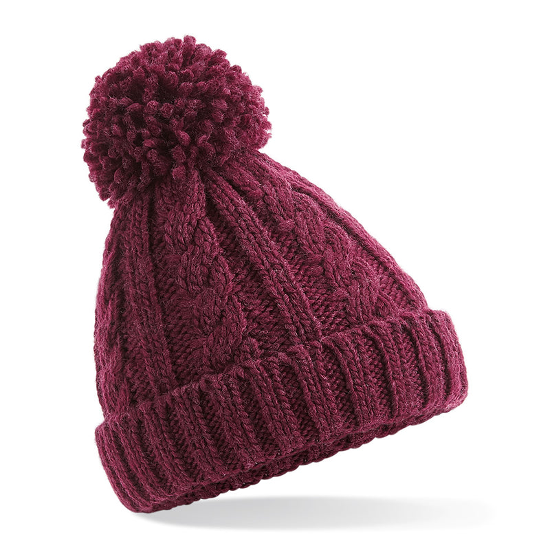 B480b Junior Cable Knit Melange Beanie