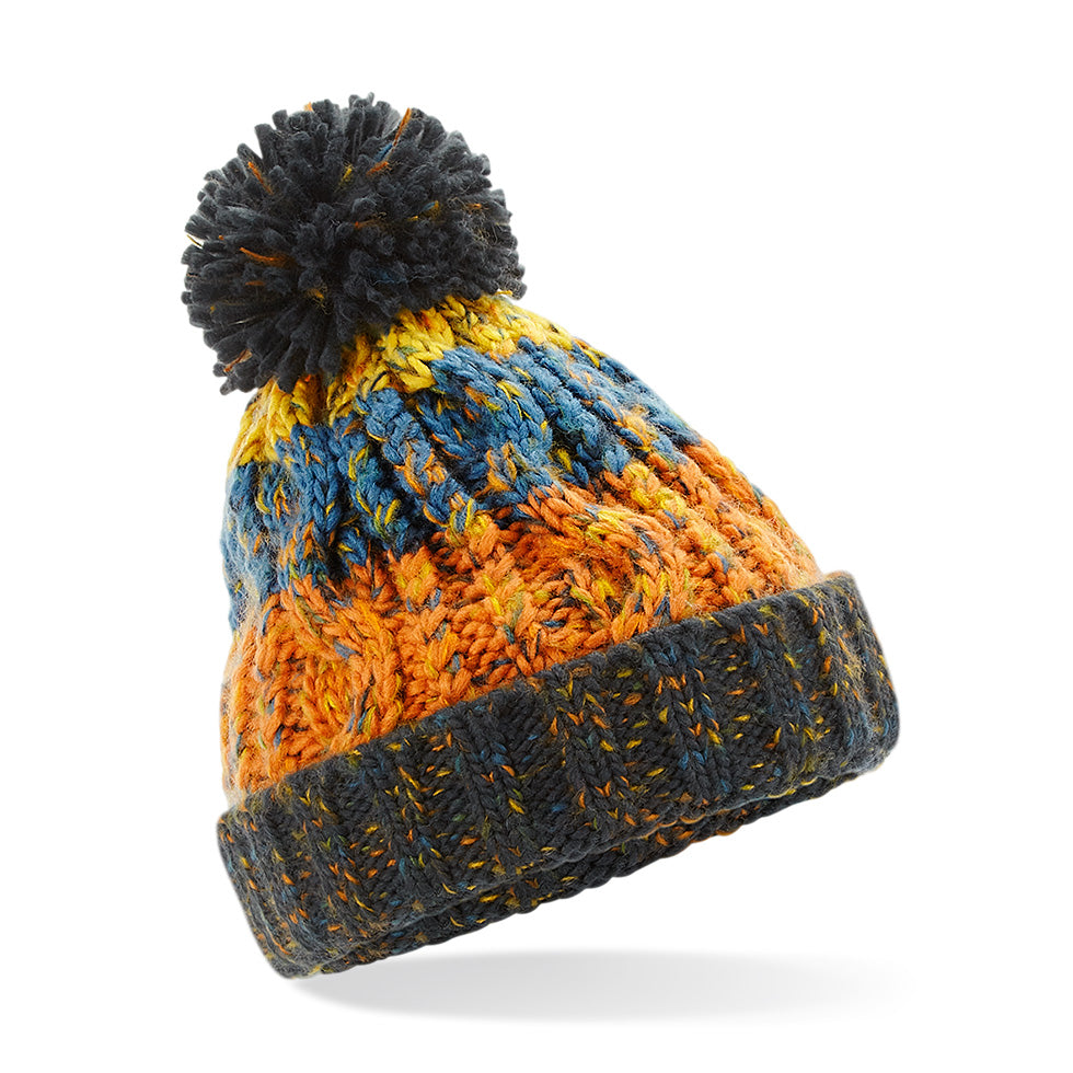 B486b Junior Corkscrew Pom Pom Beanie