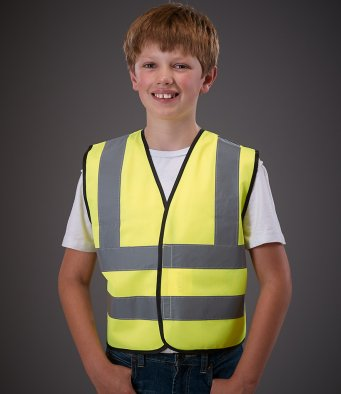 YK102B Kids Hi-Vis Two Band and Braces Waistcoat