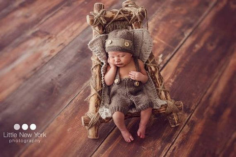 Image of Newborn Baby Boys Cute Crochet Photo Prop Button Hat Pants Overalls Clothes Knitted Photography Prop Costume Outfits - LoveLuve