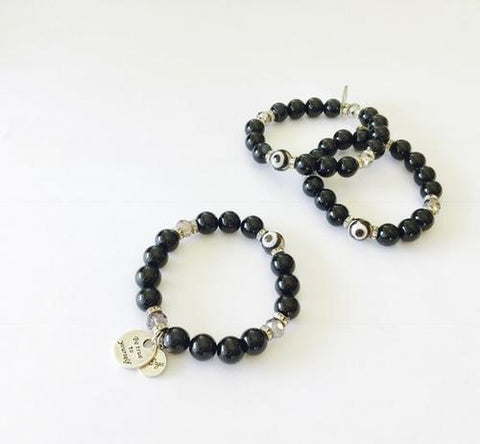 Image of Evil Eye Bracelet in Black Agate - LoveLuve