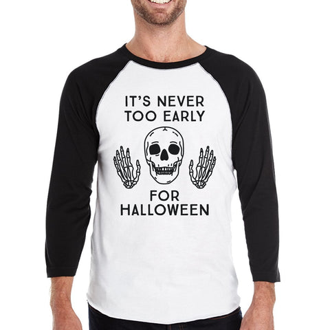Image of It's Never Too Early For Halloween Mens Black And White Baseball Shirt - LoveLuve
