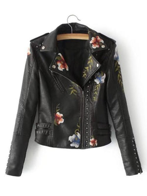 Flower Embroidery Studded Detail PU Biker Jacket - LoveLuve