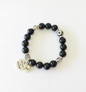 Evil Eye Bracelet in Black Agate