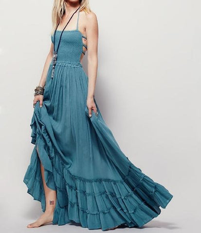 Image of Low Back Maxi Beach Dress - LoveLuve