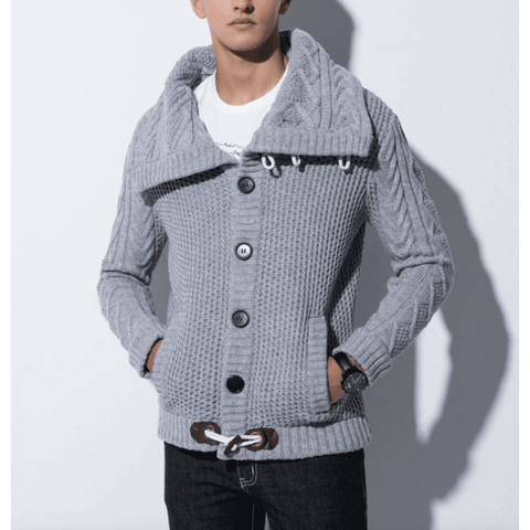 Mens Shawl Collar Horn Button Cardigan in Gray - LoveLuve