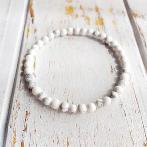4mm White Howlite Bracelet ~ Calm & Relief - LoveLuve