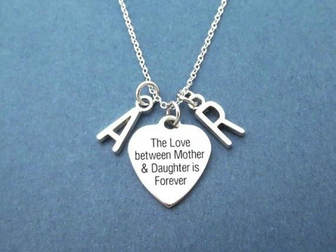 Image of The Love Between Mother & Daughter Is Forever Heart Shape Pendent Mother Necklace Double Letters Pendent Jewelry Mother and Daug - LoveLuve