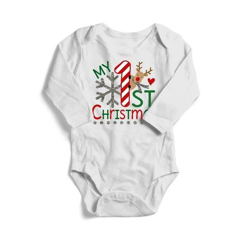 1st Christmas Deer Baby Long Sleeve Bodysuit - LoveLuve