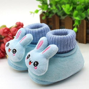 2018 Baby Shoes Rabbit Applique Solid Color Baby