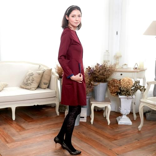 (Mommy & Me) Burgundy & Navy Pocket A-Line Dress - LoveLuve