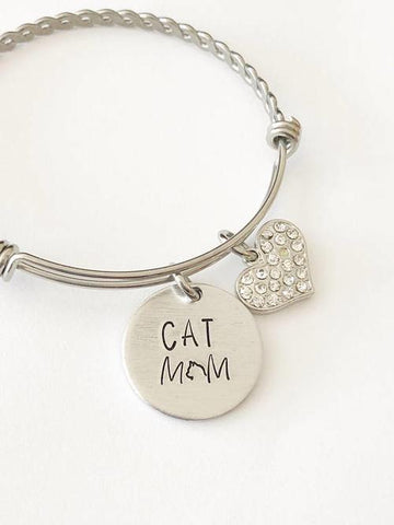 Image of Cat mom - Hand stamped bracelet - Cat mom jewelry - LoveLuve