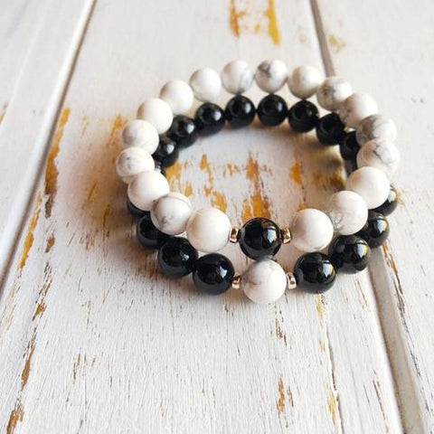 Couples Bracelet Set ~ White Howlite w/ Black Onyx - LoveLuve