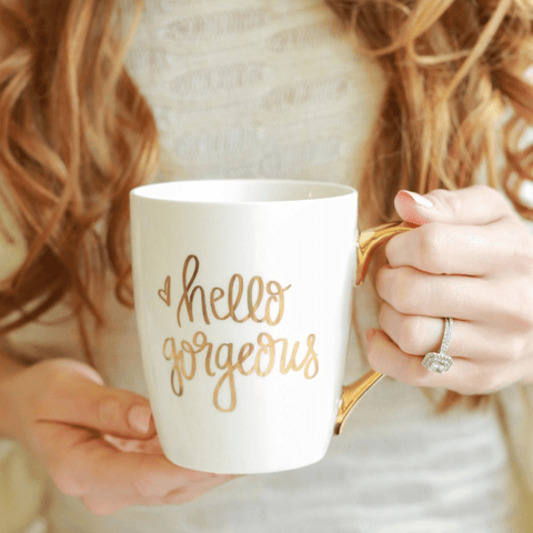 Image of Hello Gorgeous Gold Coffee Mug - LoveLuve