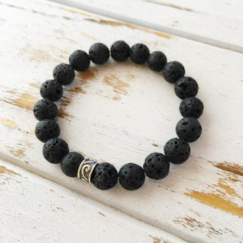 8mm Lava Beads Bracelet ~ Connection to Mother - LoveLuve
