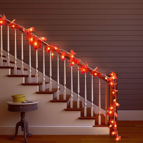 Image of Thanksgiving Decorations Lighted Fall Garland, Thanksgiving Decor Halloween String Lights 8.2 Feet 20 LED, Thanksgiving Gift - LoveLuve