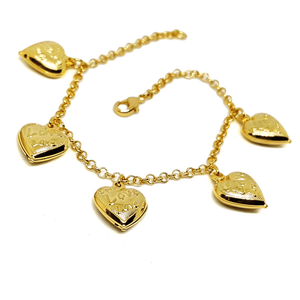 (1-0769-h5) Gold Plated Heart Charms Bracelet, 7-1/2