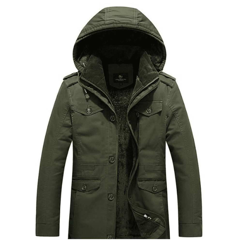 Mens Army Green Winter Hooded Military Style Coat - LoveLuve