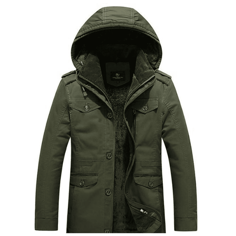 Image of Mens Army Green Winter Hooded Military Style Coat - LoveLuve