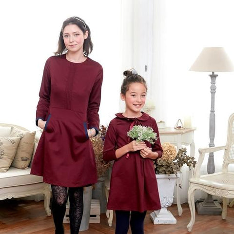 Image of (Mommy & Me) Burgundy & Navy Pocket A-Line Dress - LoveLuve
