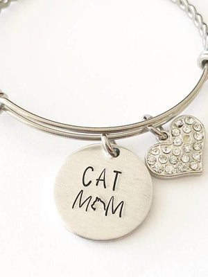 Cat mom - Hand stamped bracelet - Cat mom jewelry