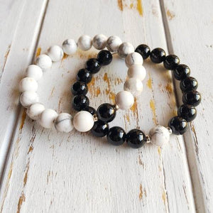 Couples Bracelet Set ~ White Howlite w/ Black Onyx