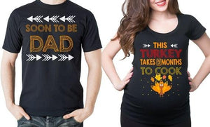 Thanksgiving Day Couple Maternity T-Shirts Dad Maternity Shirts