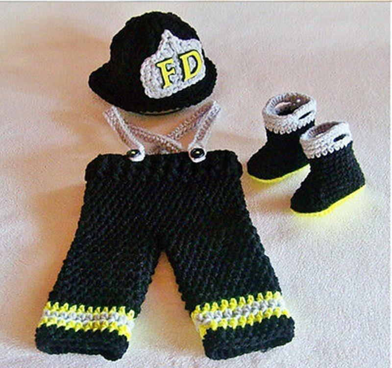 Newborn Baby boys handmade crochet knitted Firefighter fireman hat pants boots overalls set photography prop costume - LoveLuve