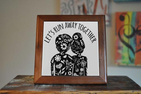 Image of Couple Ceramic Tile Coaster Set Artwork Trivet Hot - LoveLuve