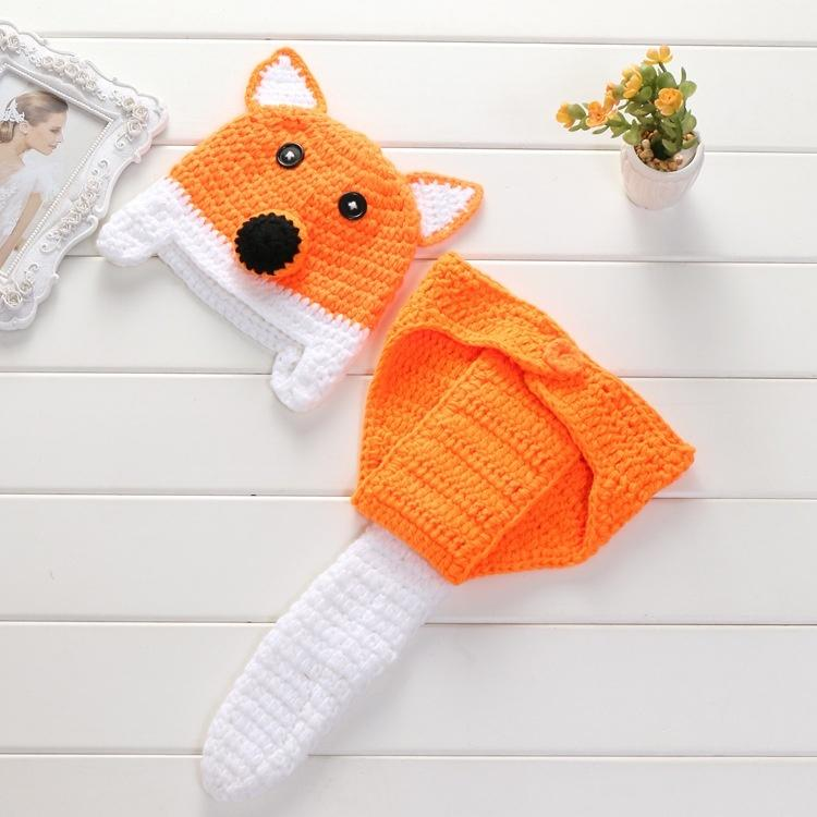 Newborn Photography Props Baby Hat & Pants Hand Crochet FOX Sweater Infant Photo Props Fotografia Baby Boys Girls Costume - LoveLuve