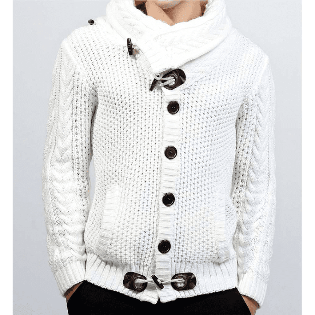Mens Shawl Collar Horn Button Cardigan in White - LoveLuve