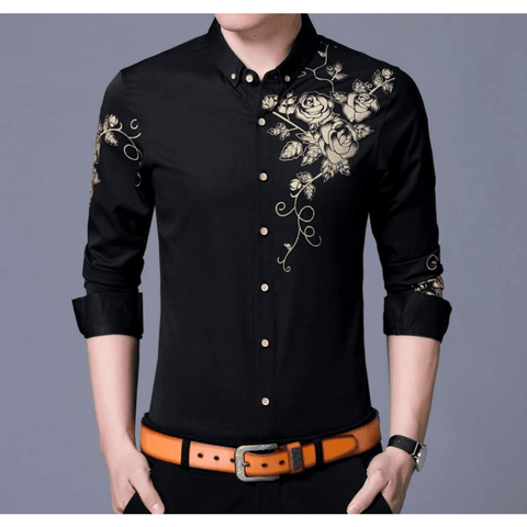 Image of Mens Midnight Black Button Front Shirt with Floral Design - LoveLuve