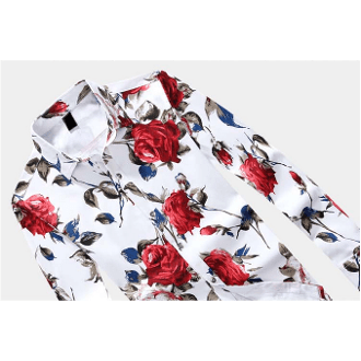 Image of Mens Red Floral Shirt - LoveLuve