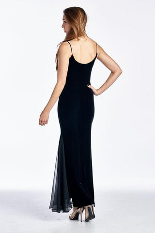 Image of Women's Velvet Maxi Dress with Butterfly Strap