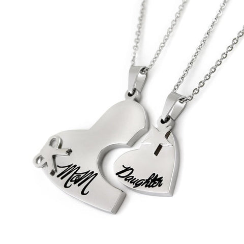 "Heart Necklace Set (2pcs) - Daughter Mother Necklaces Engraved with ""Mom"" and ""Daughter"", 18"" Chains Included - LoveLuve"